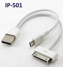 USB 2-in-1iPod & Smartphone Charger/ Sync Cable for iPhone, Droid, Blackberry...