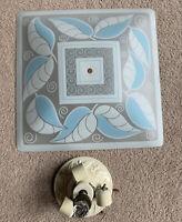 """Vtg MCM Retro Glass Ceiling Light Cover Shade 15 3/4"""" Blue w/Porcelain Fixture"""