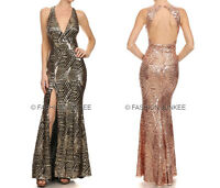 GOLD 60 SEQUIN LONG DRESS Mermaid Backless Low Cut Cocktail 1X 2X 3X PLUS SIZE