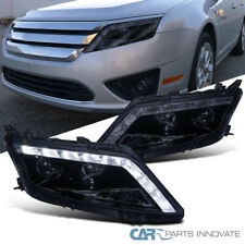 Glossy Black For 10-12 Ford Fusion Replacement Smoke LED Projector Headlights