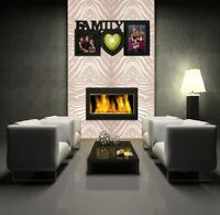 FAMILY PHOTO FRAME BLACK MULTI PICTURE HEART SHAPED WALL HANGING APERTURE HOLDER