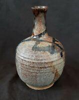 Vintage studio pottery stoneware gray vase 7.5 inches, artist signed