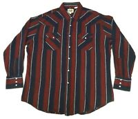Ely Cattleman Mens XL Pearl Snap Flannel Shirt Western Cowboy Red Blue Striped