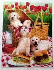 SUNSOUT 300 Piece PICNIC TIME Jigsaw PUZZLE Dogs Food Summer Flowers COMPLETE