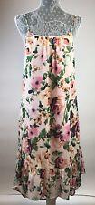 Charles Henry Dress Size Medium Chiffon Pink Floral Women's Tail Ruffle New NWT