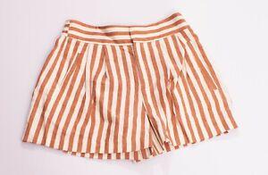 New Womens Zara Orange Stripe Linen Blend High Waist Shorts Size XS MSRP $60