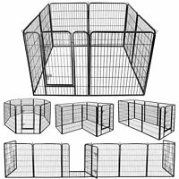 """96"""" x 39"""" Safety 8 Panel Dog Playpen Exercise Fence Cage Enclosure Kennel W/Door"""