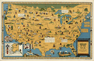 Indians of the USA Native American Tribes History Pictorial Map Poster 24x36