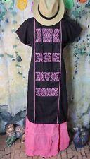 Mexican Dress Huipil Kaftan Resort Hand Woven Traditional Cotzocon Pink & Black