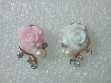 Rose Pearl And Crystal Stud Earrings/Pink/White