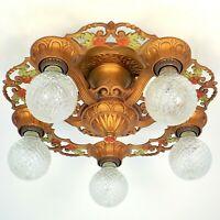Antique Art Deco Victorian Semi Flush Bare Bulb Chandelier Light Fixture REWIRED
