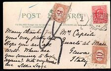 "UK TO ITALY 1904 POSTAGE DUE AND ""T"" MARKING & 5+10c STAMPS APPLIED IN GENOA ON"