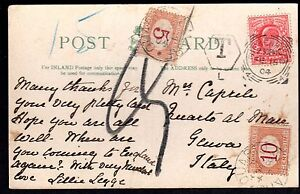 """UK TO ITALY 1904 POSTAGE DUE AND """"T"""" MARKING & 5+10c STAMPS APPLIED IN GENOA ON"""