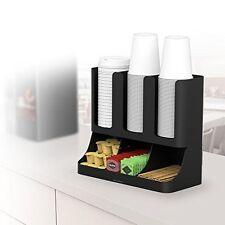 Coffee Condiment Cups Organizer Black Kitchen Accessories Storage Rack Holder