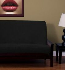Medium image of new   soft solid black plush chenille full size futon cover made in usa