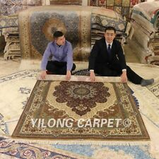 Yilong 5'x7.5' Exquisite Handmade Silk Home Rugs Hand Knotted Area Carpets 1122
