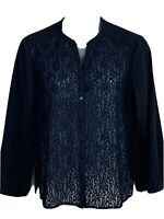 Chicos size 3 black blouse sheer lace front long sleeve V neckline womens top