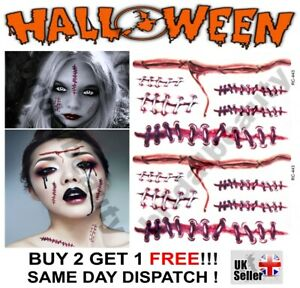 Halloween Zombie Scars Tattoos Fake Blood Staples Scar Wound Costume Make-Up Kit