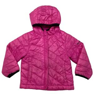Columbia Toddler Girls Coat Pink Hooded Quilted Midweight Pockets WORN Size 3T