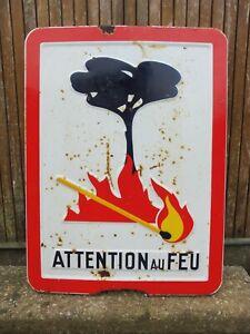 Ancienne plaque émaillée Attention Au Feu/Vitracier Neuhaus/vintage enamel plate