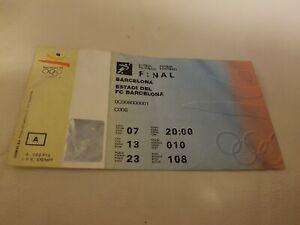 original FINAL soccer 1992 ticket spain v poland olympic games 1992 football