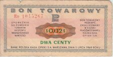 Poland Banknote Bon Towarowy-5267 2 U.S Centy 1969, See Scan