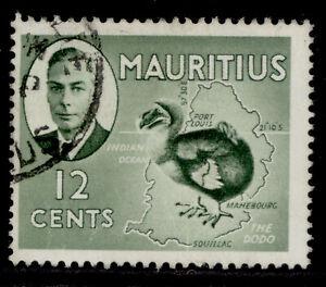 MAURITIUS GVI SG282, 12c olive-green, FINE USED.