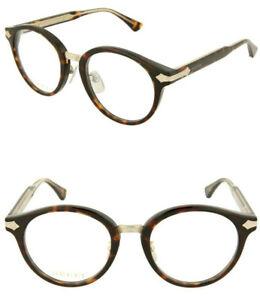 GUCCI Titanium GG0066O 50mm Round Optical Frame Eyeglasses Havana Transparent