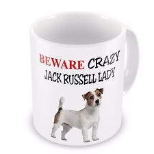 Beware Crazy JACK RUSSELL LADY Funny Novelty Gift Mug