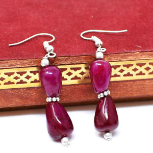Best Quality 40.00 Cts Earth Mined Red Ruby Gemstone Beads Designer Earrings
