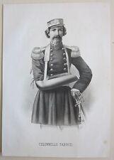 1862 COLONNELLO FABRIZI Nicola litografia Riccio Risorgimento Spedizione mille