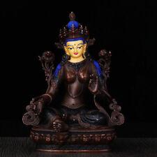 "8"" Tibet Tibetan Buddhism hand painting copper gilt brown Green Tara statue"