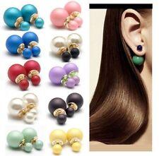 Women Celebrity Fashion Party Runway Double Sided Pearl Stud Earrings AU Stock