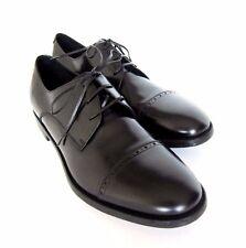 S-1725226 New Salvatore Ferragamo Sireno Black Leather LaceUp Shoe Size US 10.5D