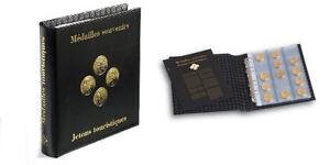 ALBUM OPTIMA LEUCHTTURM pour 75 médailles Ø42mm Monnaie de Paris, Arthus...