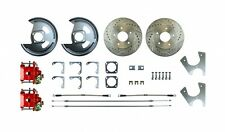 AFXRD05Z REAR DISC BRAKE CONVERSION KIT w/ Red Calipers Drilled Slotted Rotors