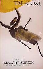 Pierre Tal Coat Affiche lithographie Art Abstrait 1974 Exposition Zurich Maeght