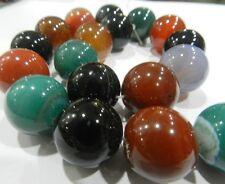 NEW 20mm Multicolor Agate Round Loose Beads 15""