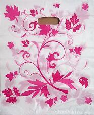 100 Tragetaschen Tüte Plastiktüten Plastiktaschen pinkige Blumen 33x40