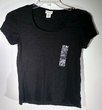 New Jaclyn Smith Crinkle Tee Black Short Sleeve Top Women's Size S Small