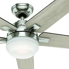 "54"" Hunter Contemporary Ceiling Fan, Brushed Nickel, LED Light Kit and Remote"