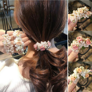 Women Pearl Flower Hair Rope Scrunchies Ponytail Holder Rubber Band Accessories