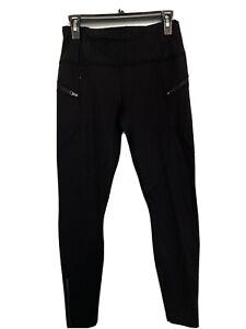 LULULEMON black running  Scuba Full Length Leggings Zip  Pockets size 10