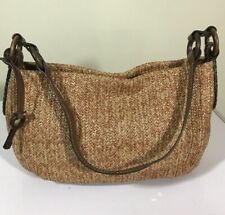 Vintage Fossil Purse Small Handbags Woven Browns Wood FOB