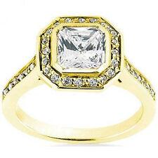 1.03 carat center Radiant cut Diamond Halo Engagement 14k Yellow Gold Ring VS1