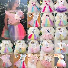 Baby Girls Unicorn Princess Kids Birthday PartyTulle Tutu Dress Wedding Outfits