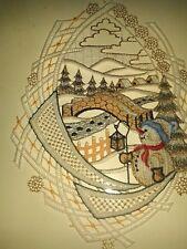 Plauener Stickerei Fensterbild Spitze, Fensterschmuck Plauenerstickerei Weihnach