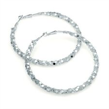 Silver Colour Hoop Earrings Chain Mail Look