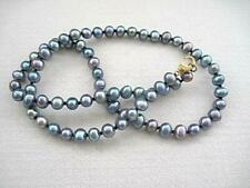Dainty Blue/Grey Freshwater Pearl Knotted Necklace - GP Clasp - 18""