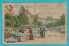 Postkarte Leipzig Barfussberg Töpferplatz Lithographie Transparentpostkarte